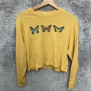 Garage Butterfly Long Sleeve Cropped Top